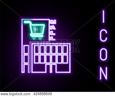Glowing Neon Line Mall Or Supermarket Building With Shopping Cart Icon Isolated On Black Background.