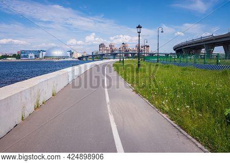 Asphalt Bike Path On The Embankment, Krestovsky Island, St. Petersburg, Russia