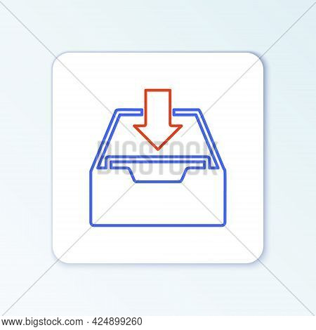 Line Download Inbox Icon Isolated On White Background. Add To Archive. Colorful Outline Concept. Vec