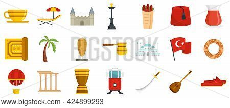Turkey Country Icons Set. Flat Set Of Turkey Country Vector Icons Isolated On White Background