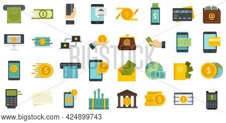 Money Transfer Icons Set. Flat Set Of Money Transfer Vector Icons Isolated On White Background