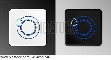 Line Washing Dishes Icon Isolated On Grey Background. Plate And Sponge. Cleaning Dishes Icon. Dishwa