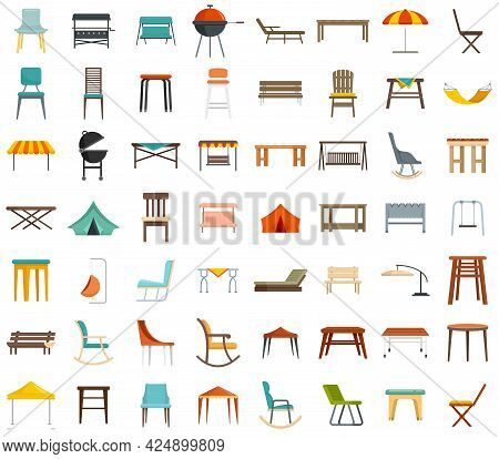Garden Furniture Icons Set. Flat Set Of Garden Furniture Vector Icons Isolated On White Background
