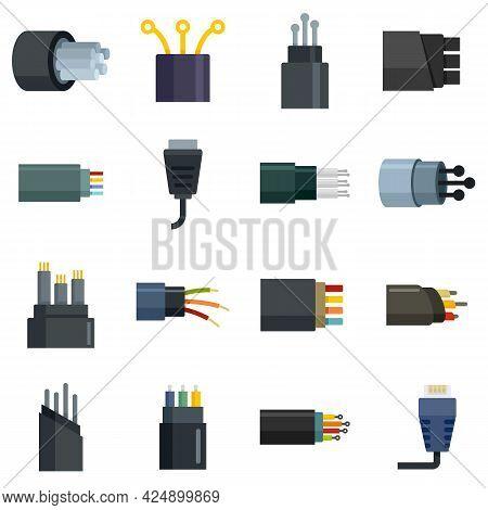 Optical Fiber Icons Set. Flat Set Of Optical Fiber Vector Icons Isolated On White Background