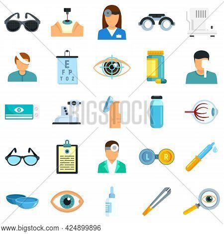 Eye Examination Icons Set. Flat Set Of Eye Examination Vector Icons Isolated On White Background