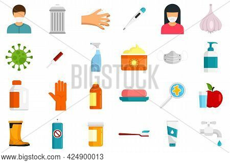 Prevention Icons Set. Flat Set Of Prevention Vector Icons Isolated On White Background