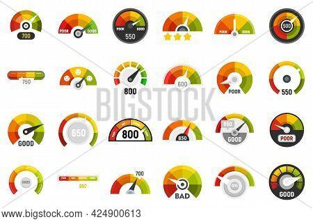 Credit Score Icons Set. Flat Set Of Credit Score Vector Icons Isolated On White Background