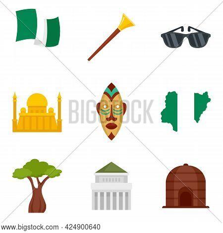 Nigeria Icons Set. Flat Set Of Nigeria Vector Icons Isolated On White Background