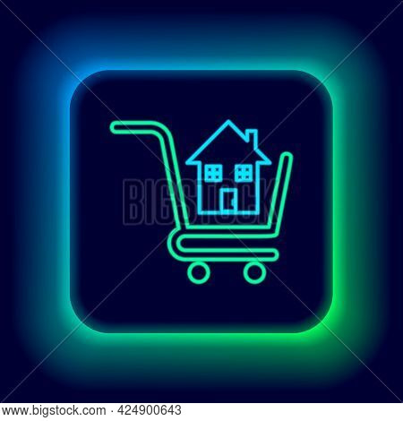 Glowing Neon Line Shopping Cart With House Icon Isolated On Black Background. Buy House Concept. Hom