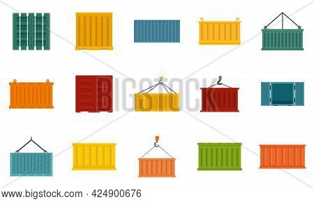 Cargo Container Icons Set. Flat Set Of Cargo Container Vector Icons Isolated On White Background