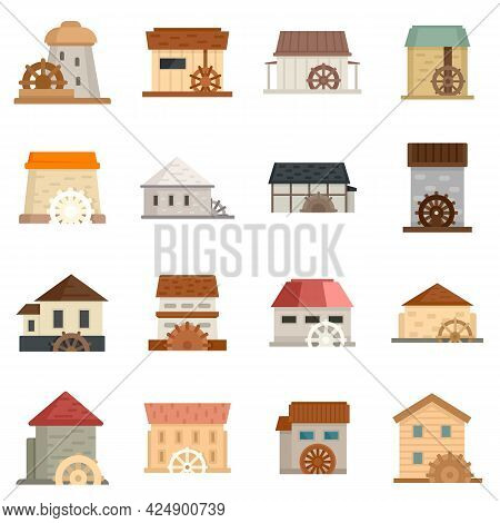 Water Mill Icons Set. Flat Set Of Water Mill Vector Icons Isolated On White Background
