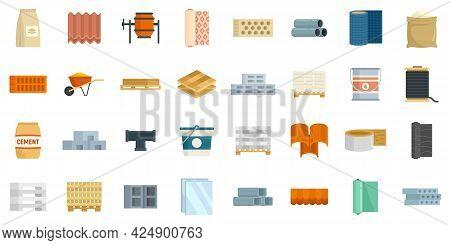 Construction Materials Icons Set. Flat Set Of Construction Materials Vector Icons Isolated On White