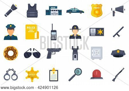 Police Station Icons Set. Flat Set Of Police Station Vector Icons Isolated On White Background