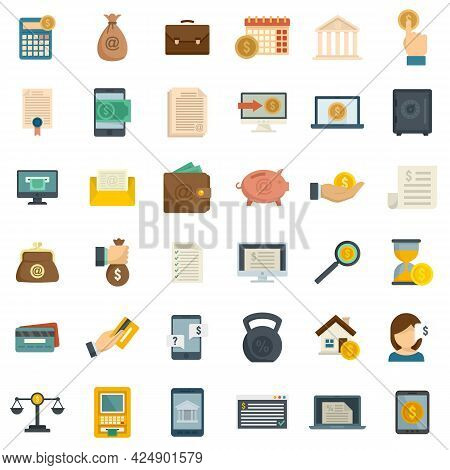 Online Loan Icons Set. Flat Set Of Online Loan Vector Icons Isolated On White Background