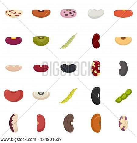 Kidney Bean Icons Set. Flat Set Of Kidney Bean Vector Icons Isolated On White Background