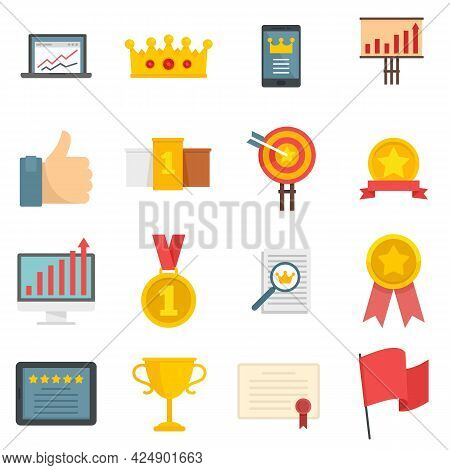Excellence Icons Set. Flat Set Of Excellence Vector Icons Isolated On White Background
