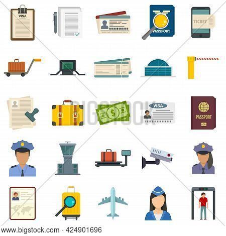 Passport Control Icons Set. Flat Set Of Passport Control Vector Icons Isolated On White Background