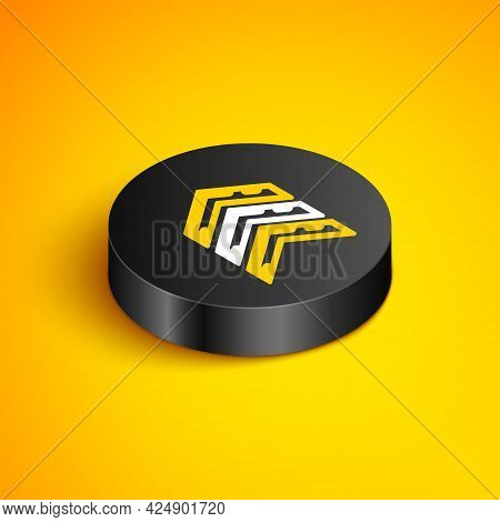 Isometric Line Military Rank Icon Isolated On Yellow Background. Military Badge Sign. Black Circle B