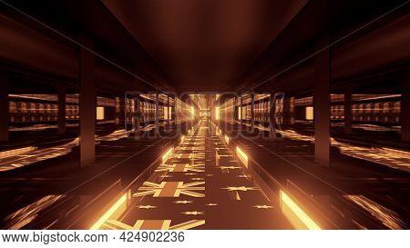 4k Uhd 3d Illustration Of Corridor With Golden Australian Flags
