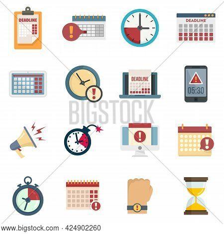 Deadline Icons Set. Flat Set Of Deadline Vector Icons Isolated On White Background