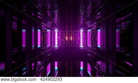 4k Uhd Purple Neon Tunnel 3d Illustration