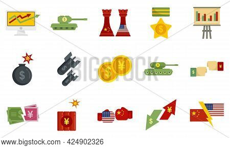 Trade War Icons Set. Flat Set Of Trade War Vector Icons Isolated On White Background
