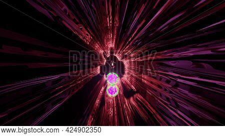 4k Uhd Distorted Ornament Inside Tunnel 3d Illustration