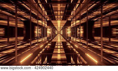 4k Uhd 3d Illustration Of Glass Golden Tunnel