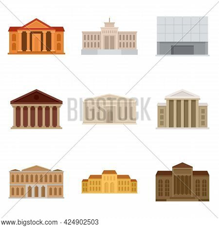 Theater Museum Icons Set. Flat Set Of Theater Museum Vector Icons Isolated On White Background