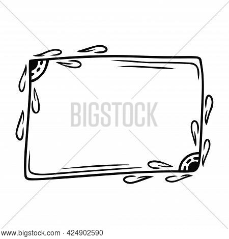 Hand Drawn Abstract Rectangular Frame With Natural Elements Isolated On A White Background. Doodle,