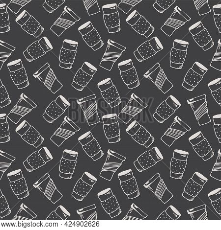 Seamless Pattern With Hand Drawn Thermo Cups On A Dark Background. Doodle, Simple Outline Illustrati