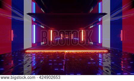 4k Uhd Corridor With Multicolored Neon Lights 3d Illustration