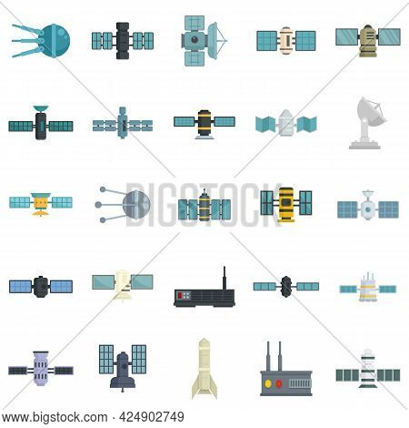 Satellite Icons Set. Flat Set Of Satellite Vector Icons Isolated On White Background