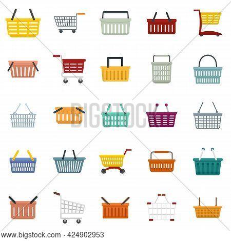 Cart Supermarket Icons Set. Flat Set Of Cart Supermarket Vector Icons Isolated On White Background