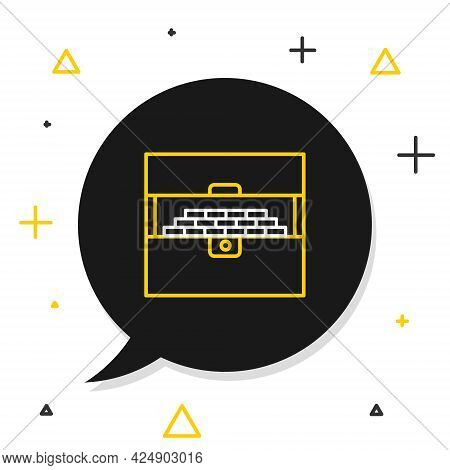 Line Opened Antique Treasure Chest Icon Isolated On White Background. Vintage Wooden Chest With Gold
