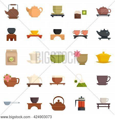 Tea Ceremony Icons Set. Flat Set Of Tea Ceremony Vector Icons Isolated On White Background