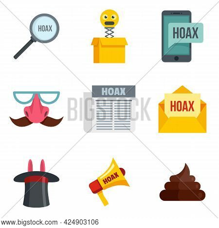 Hoax Icons Set. Flat Set Of Hoax Vector Icons Isolated On White Background