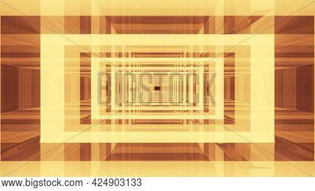 Symmetric 4k Uhd 3d Illustration Of Glass Tunnel