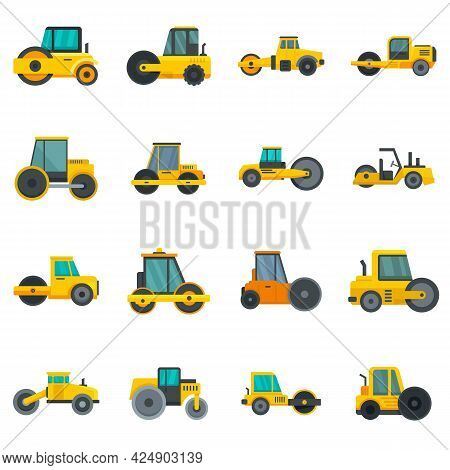 Road Roller Icons Set. Flat Set Of Road Roller Vector Icons Isolated On White Background