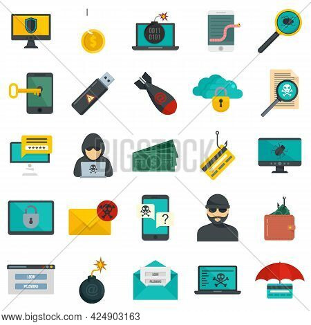 Fraud Icons Set. Flat Set Of Fraud Vector Icons Isolated On White Background