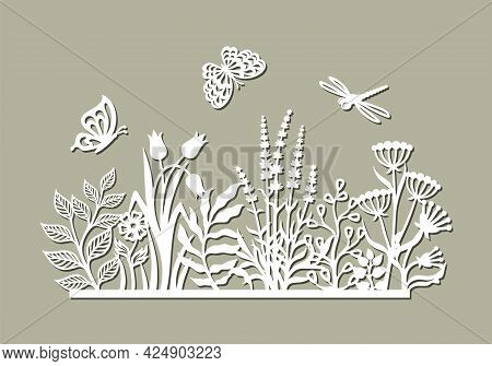 Decorative Panel With Flowers. Summer Meadow With Grass, Leaves, Buds, Herbs, Butterflies, Dragonfli