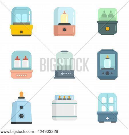 Bottle Sterilizer Icons Set. Flat Set Of Bottle Sterilizer Vector Icons Isolated On White Background