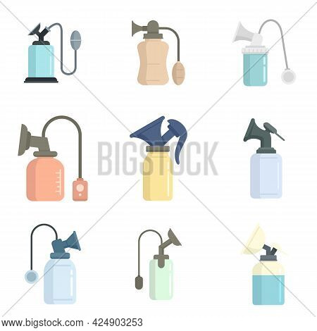 Breast Pump Icons Set. Flat Set Of Breast Pump Vector Icons Isolated On White Background