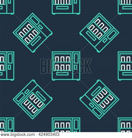 Line Vending Machine Of Food And Beverage Automatic Selling Icon Isolated Seamless Pattern On Black