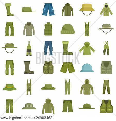 Fisherman Clothes Icons Set. Flat Set Of Fisherman Clothes Vector Icons Isolated On White Background