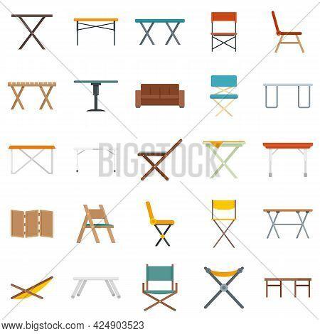 Folding Furniture Icons Set. Flat Set Of Folding Furniture Vector Icons Isolated On White Background