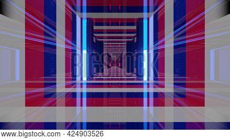 3d Illustration Of France Flag Corridor In 4k Uhd