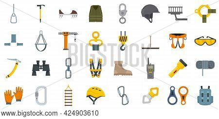 Industrial Climber Icons Set. Flat Set Of Industrial Climber Vector Icons Isolated On White Backgrou