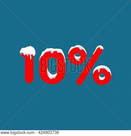 10 Off. A Discount Of Ten Percent. Numbers In The Snow. Winter Sale, Christmas Sale, Holiday Sale. F