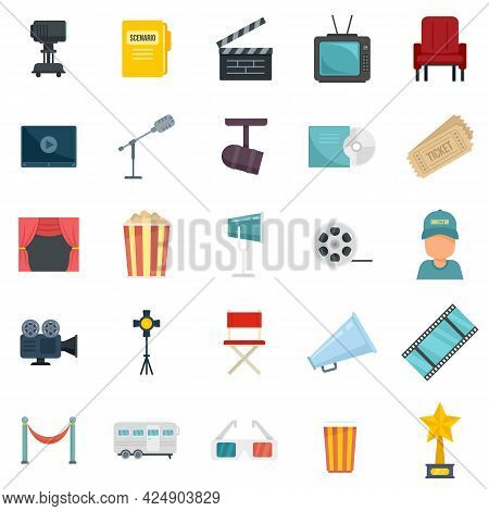 Stage Director Icons Set. Flat Set Of Stage Director Vector Icons Isolated On White Background